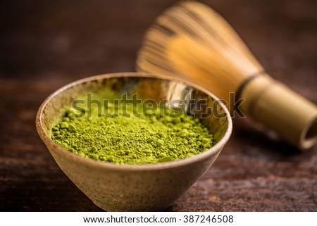 Matcha green tea in bowl - stock photo