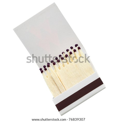 Matchbook close-up isolated over the white background - stock photo