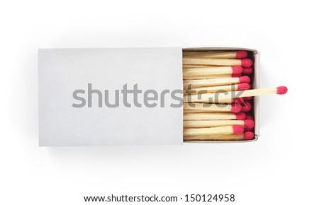 Matchbox isolated on the white background - stock photo