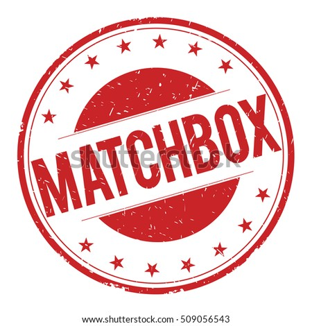 MATCHBOX stamp sign text word logo red.