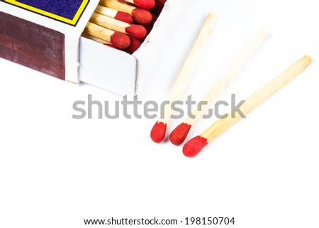 Matchbox with matches isolated on white background - stock photo
