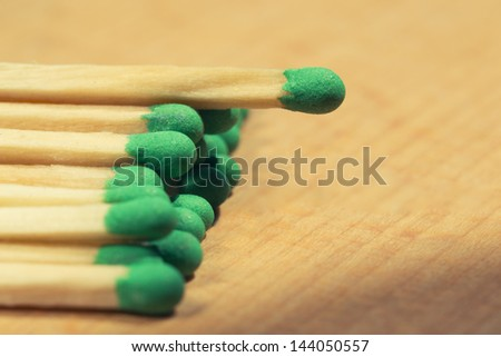 Matches closeup lying on a wooden table