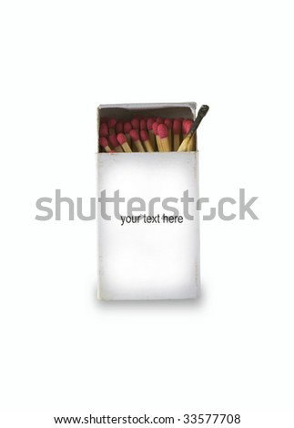 Matches isolated on white with blank text area - stock photo
