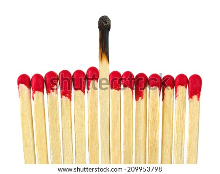 Matches - leadership or inspiration concept isolated on white background - stock photo
