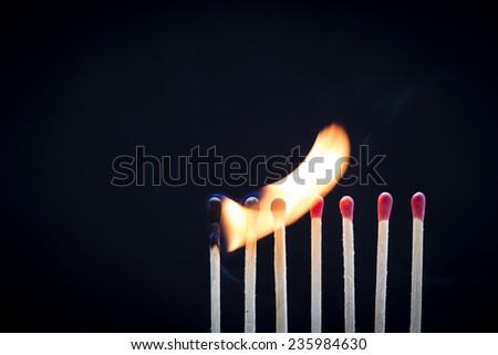 Matches On Fire/ a row of matchsticks burning is sequence from left to right showing connection and sharing  - stock photo