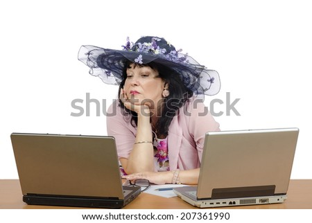 Matchmaker carefully selecting new profiles to the dating agency database. She sitting on white background