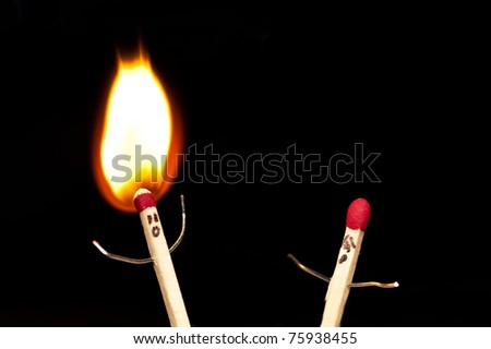 Matchstick person in a moment of panic. - stock photo