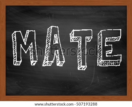 MATE hand writing chalk text on black chalkboard