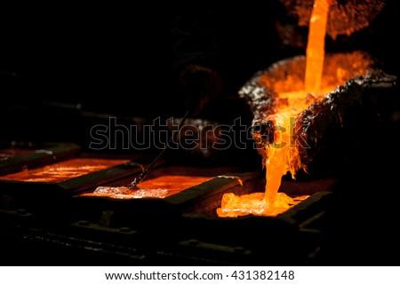 Mater alloys production from molten aluminium - stock photo