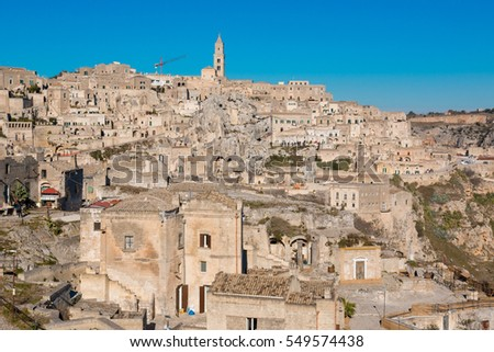 matera ancient city with caves and cavities inhabited in the past Basilicata Italy