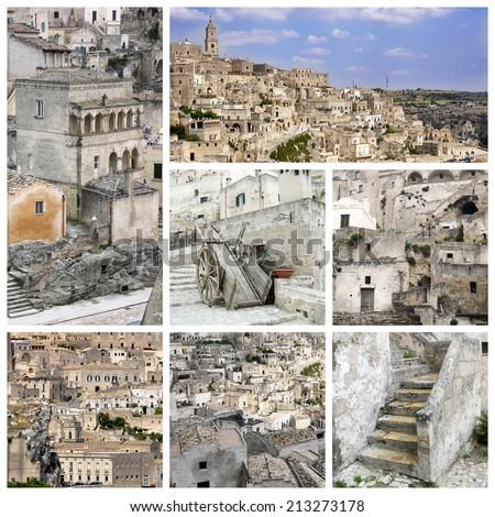Matera collage. The ancient city of Matera. Basilicata, Italy - stock photo