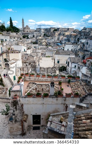 MATERA, ITALY  SEPTEMBER 15, 2014: View of Sassi di Matera from Piazza Vittorio Veneto . The city is a UNESCO World Heritage site and European Capital of Culture for 2019 - stock photo