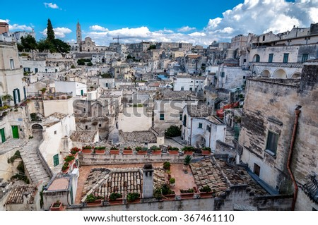 MATERA, ITALY â?? SEPTEMBER 15, 2014: View of Sassi di Matera from Piazza Vittorio Veneto. The city is a UNESCO World Heritage site and European Capital of Culture for 2019