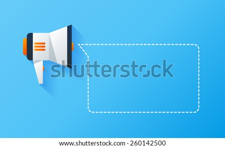 Material icon of bullhorn with place for text - stock photo