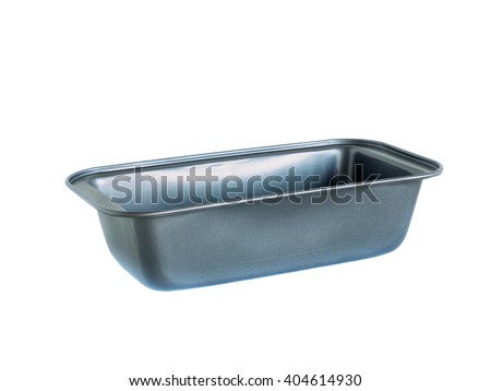 material rectangle baking loaf pan non-stick coating. isolated on white. - stock photo