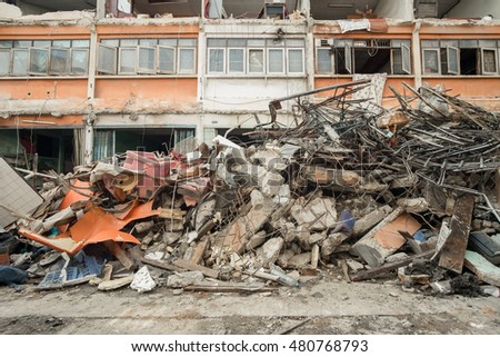 material  waste after building failure
