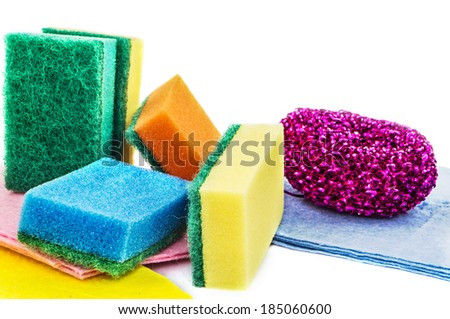 Materials for cleaning dishes and enclosing purity - stock photo