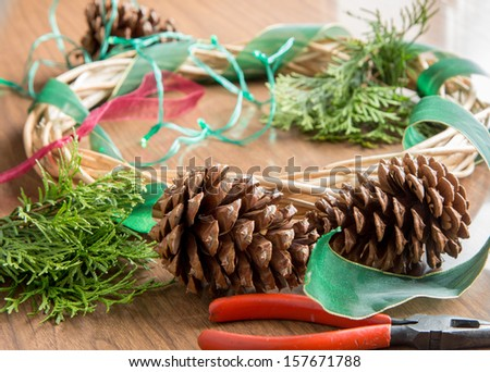 materials for making a Christmas wreath - stock photo