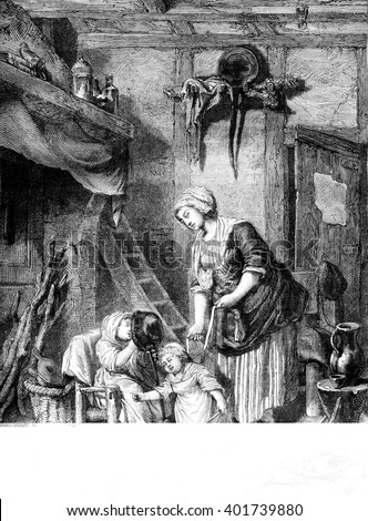 Maternal complacency, vintage engraved illustration. Magasin Pittoresque 1861.