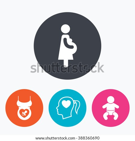 Maternity icons. Baby infant, pregnancy and dummy signs. Child pacifier symbols. Head with heart. Circle flat buttons with icon. - stock photo