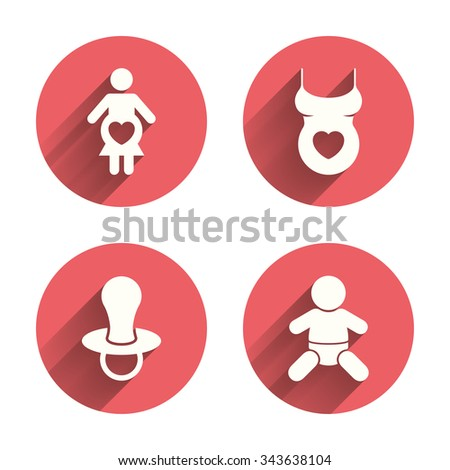 Maternity icons. Baby infant, pregnancy and dummy signs. Child pacifier symbols. Shirt with heart. Pink circles flat buttons with shadow.  - stock photo