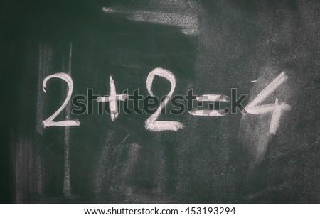 math equation on green blackboard - stock photo