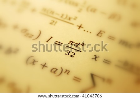 Math geometry background with formulas - stock photo
