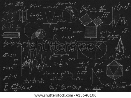 Math geometry formulas on black background. - stock photo
