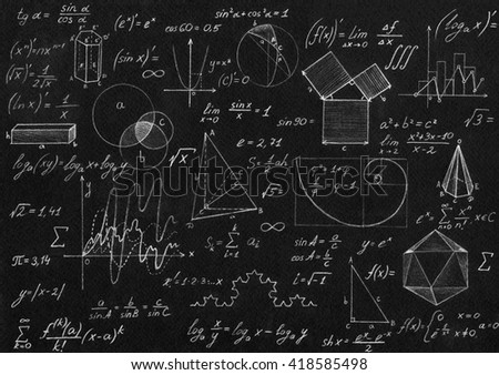 Math geometry formulas on black background. - stock photo