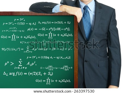 math on blackboard presenting by businessman or teacher - stock photo
