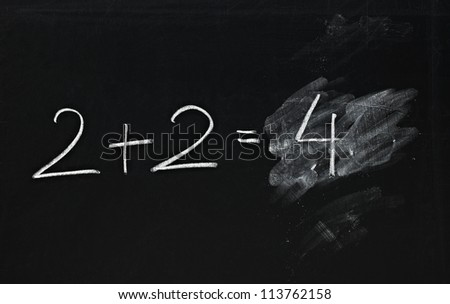 math simple equation on chalk board - stock photo