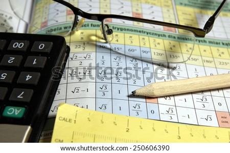 Math study for the exam set (book, pencil, glasses, calculator) - Background shows trigonometry formulas - stock photo