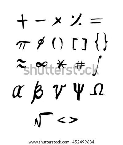 Math Symbols Hand Written in Ink - stock photo