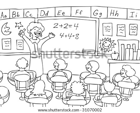 Math Teacher Female Teacher Gives Lecture Stock Illustration ...