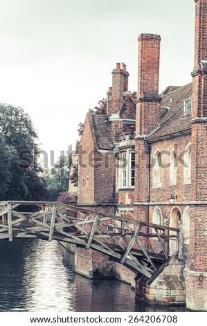 Mathematical bridge vertical view, Cambridge, UK - stock photo