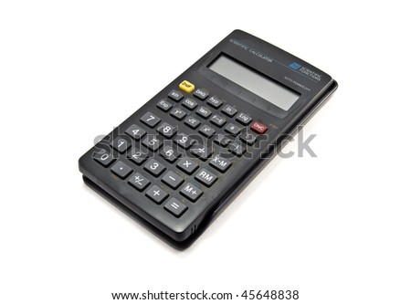 mathematical calculator is isolated on a white