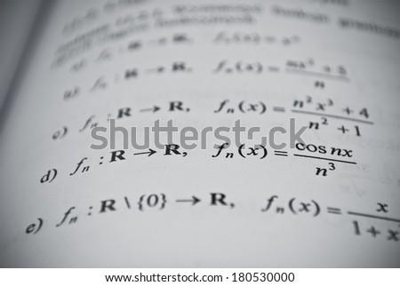 Mathematical education concept of function, integral, derivative formulas - stock photo