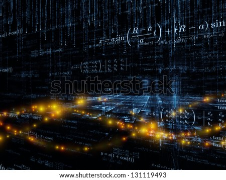 Mathematical Formula series. Creative arrangement of mathematical formulas and design elements in perspective as a concept metaphor on subject of business, science, education and technology