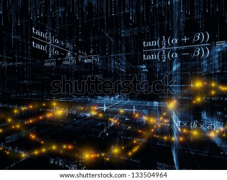 Mathematical Formula series. Visually pleasing composition of mathematical formulas and design elements in perspective to serve as  background in works on business, science, education and technology
