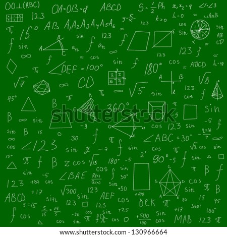 mathematical formulas and drawings -  made with chalk over green blackboard