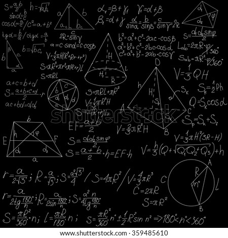mathematical formulas on a blackboard - stock photo