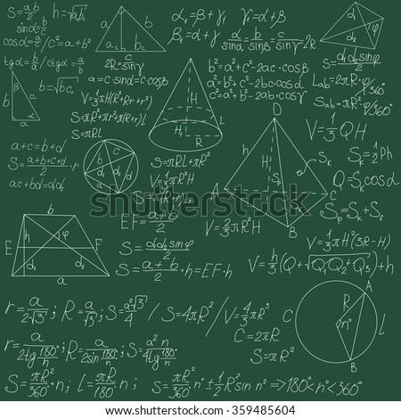 mathematical formulas on a green blackboard - stock photo