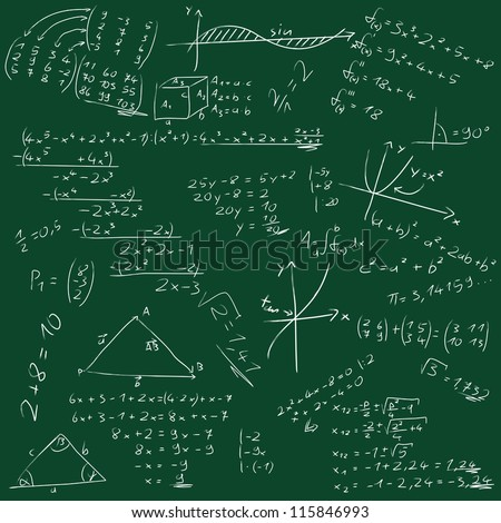 Mathematical formulas on green background