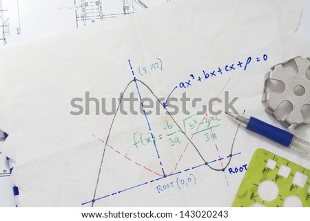 Mathematical function graph sketch on a napkin.