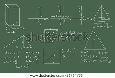 mathematics and geometry on green blackboard set - stock photo
