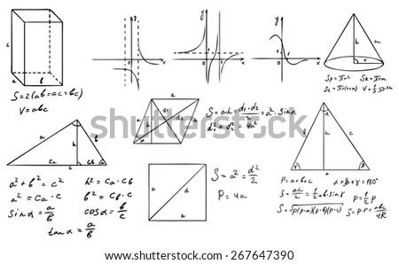 mathematics and geometry set - stock photo
