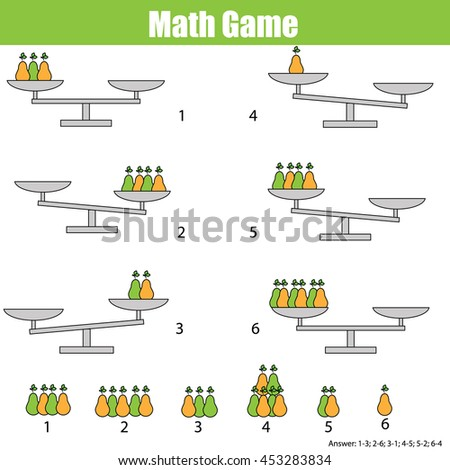 Mathematics educational game for children. Balance the scale. Learning counting, mathematical equation, weights and algebra - stock photo