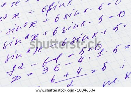 Mathematics formula on paper, abstract education background - stock photo