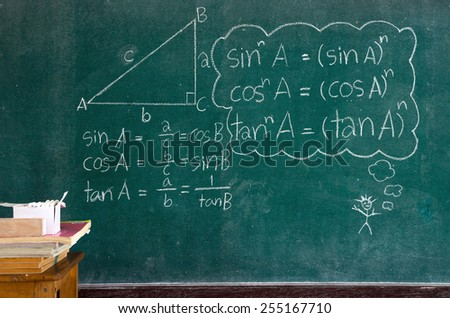 mathematics formulas on a blackboard - stock photo
