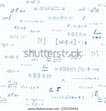 mathematics. seamless pattern with mathematics formulas